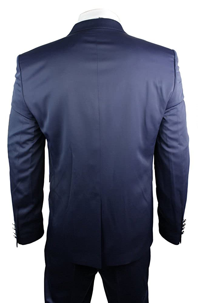Mens Satin Slim Fit Wedding Party Suit Navy Blue Cream Ivory Trim Waistcoat Blaz