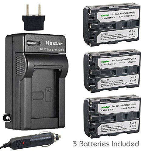 Kastar NP-FM50 Battery (3-Pack) + Charger for Sony CCD-TRV128 CCD-TRV138 CCD-TRV150 CCD-TRV208 CCD-TRV218 CCD-TRV228 CCD-TRV250 CCD-TRV308 CCD-TRV318 CCD-TRV328 CCD-TRV338 CCD-TRV350 CCD-TRV408