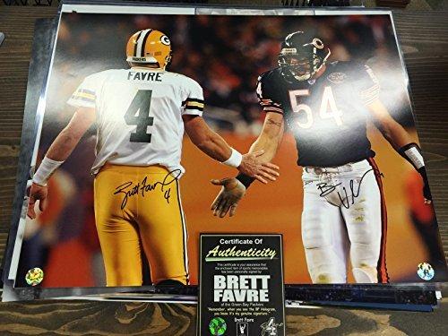 Brett Favre Brian Urlacher Dual Signed Autographed Bears Packers 16x20 Photo Favre Holo Urlacher Holo Dual Hologram & Favre (Brian Urlacher Photograph)