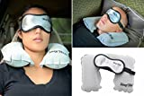 SLEEP WELL #1 Travel Inflatable Pillow Eye Mask Set for Sleeping with Reusable Noise Canceling Ear Plugs by Fortune Bliss(tm) | Best Soft Cotton Dry Puffy Eyes Night Sleep Masks for Men,Women,Kids