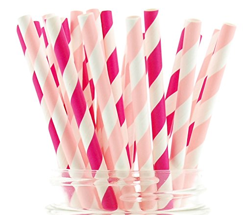Princess Party Straws, Pink Paper Straws (50 Pack) - Girls Birthday Party Supplies, Women & Girls Pink Princess Stripe Straws