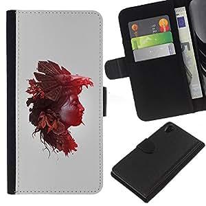 For Sony Xperia Z2 D6502 Case , Woman Nature Autumn Leaves - la tarjeta de Crédito Slots PU Funda de cuero Monedero caso cubierta de piel
