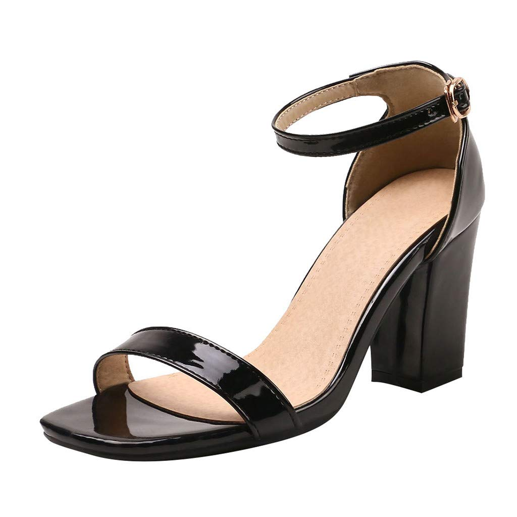 2019 Summer Women's Elegant Soft Party Shoes,Outdoor Casual Strappy Ankle Strap Open Toe High Heel Wedding Sandals (Black, US:8.5) by AuroraX Sandals