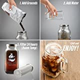 Coffee Genie Cold Brew Coffee Maker-2qt Iced Coffee Maker w/Ball Mason Jar and Stainless Steel Cold Brew Filter Infuser for Delicious Ice Coffee or Cold Brewed Iced Tea
