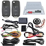 EASYGUARD EC002-V-NS PKE car alarm system with remote start starter push start stop button touch password entry uncut HAA key blade FSK technology code rolling