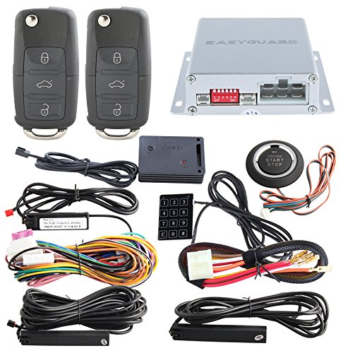 EASYGUARD EC002-V-NS PKE car alarm system with remote start starter push start stop button touch password entry uncut HAA key blade FSK technology code ()