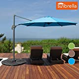 Sundale Outdoor 10ft Sunbrella Fabric Offset Hanging Umbrella Market Patio Umbrella Aluminum Cantilever Pole with Crank Lift, Corss Frame, 360°Rotation, for Garden, Deck, Backyard (Sky Blue)