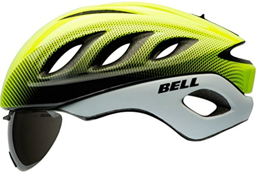 Pro Race Helmet - Bell Star Pro Race Helmet with Tinted Eye Shield 2016 Size: LARGE YELLOW/WHITE