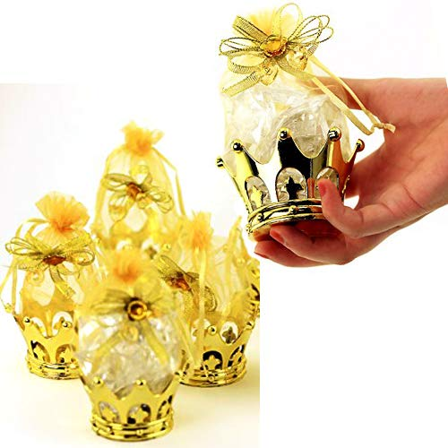 JC HUMMINGBIRD 24PC Gold Crown Pouch Fillable for Candies, Table Decorations, Party Favors, Keepsake, Baby Shower ()