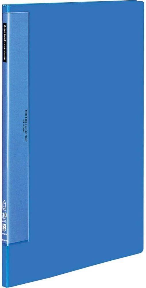 コクヨ クリヤーブック ウェーブカット 固定式 A3 縦 10ポケット 青 ラ-T553B 【まとめ買い3冊セット】