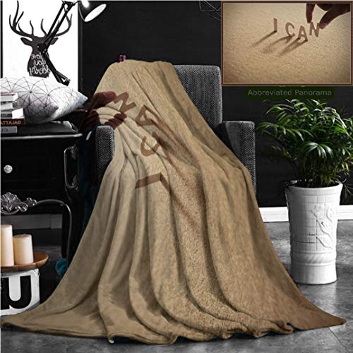 """Nalagoo Unique Custom Flannel Blankets I Can Wood Word On Compressed Board Cork Board With Human S Finger At N Letter Super Soft Blanketry for Bed Couch, Twin Size 70"""" x 60"""" -"""