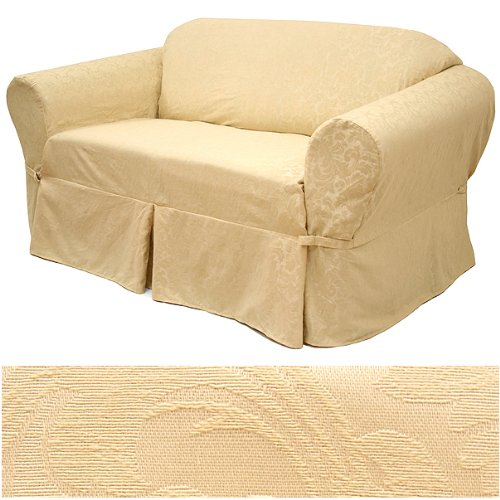 Damask Beige Furniture Slipcover Loveseat 582 SlipcoverShop