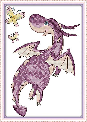 Full Range of Embroidery Starter Kits Stamped Cross Stitch Kits Beginners for DIY Embroidery (Multiple Pattern Designs)-The Purple Little Dragon