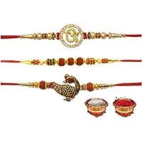 Om brand Bhaiya bhabhi traditional bead and moti rakhi