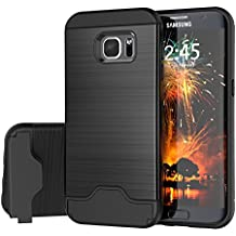 Samsung Galaxy S7 Edge Case, Raydem Galaxy S7 Edge Shockproof Case with Card Slot Holderand Built-In Kickstand,Wire Drawing Cover Design