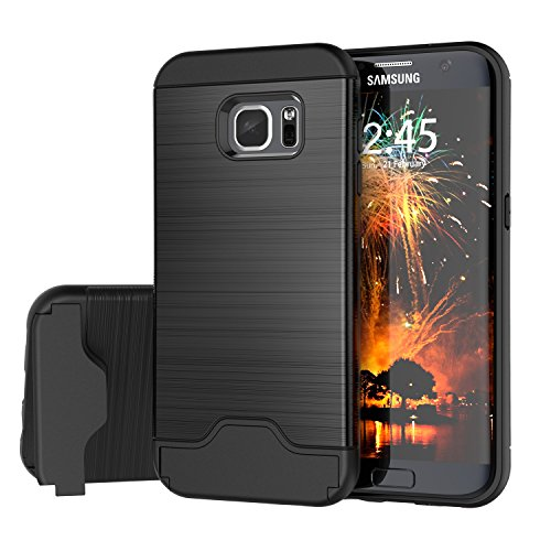 Samsung Galaxy S7 Edge Case, Raydem Galaxy S7 Edge Shockproof Case with Card Slot Holder and Built-In Kickstand,Wire Drawing Cover Design