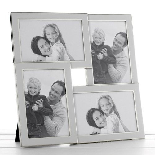 White Silver Plated Multi Aperture Photo Frame 4x 4\