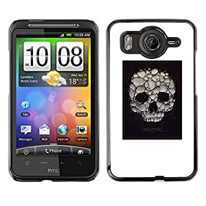 Shell-Star Art & Design plastique dur Coque de protection rigide pour Cas Case pour HTC Desire HD / G10 / inspire 4G( Skull Soap Bubble Death Poster White )