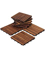 Bare Decor EZ-Floor Interlocking Flooring Tiles in Solid Teak Wood Oiled Finish Set of 10, Long 9 Slat