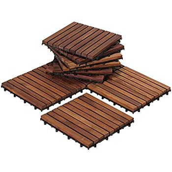 Bare Decor Ez Floor Interlocking Flooring Tiles In Solid Teak Wood Oiled Finish Set Of 10 Long 9 Slat