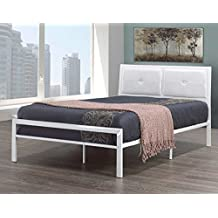 Queen Size White Metal Frame with Padded Leatherette Headboard