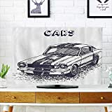 L-QN tv Protective Cover Grunge Style Old Nostalgic Sports Car Theme Speed Vehicle Manly tv Protective Cover W36 x H60 INCH/TV 65''