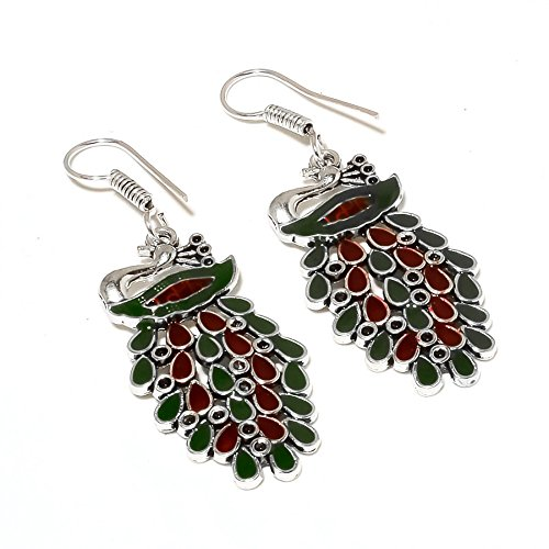 Exotic! Cheed Work! Handmade Peacock Shape! Dyed Ruby & Emerald Sterling Silver Overlay Earring 2.2