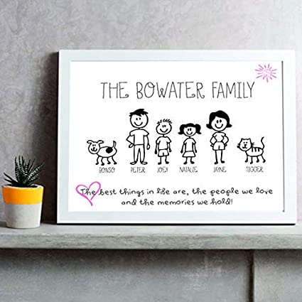 Pack of 5 Handmade Personalised Stick Family Christmas Xmas Cards A5 Size