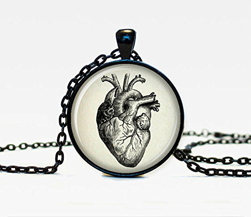 Vintage Anatomical Heart Pendant Necklace