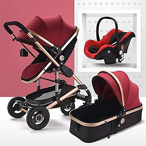 3 in 1 Pushchair Stroller, High Landscape Anti-Shock Baby Stroller, Travel System Infant Carriage,Portable Infant Pram,Compact Convertible Luxury Strollers (Color : Red)