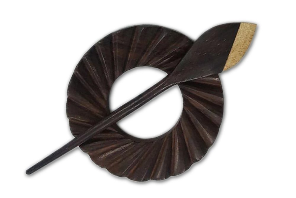 Happy Classy Round Rosewood Hand Crafted Shawl Pin 3.5''