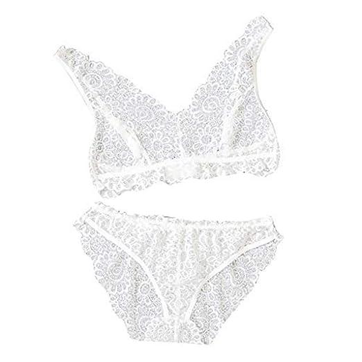 083eb79e68e Amazon.com: Women Lingerie Lace Bra V-Neck Underwear Set Sexy Buckle ...