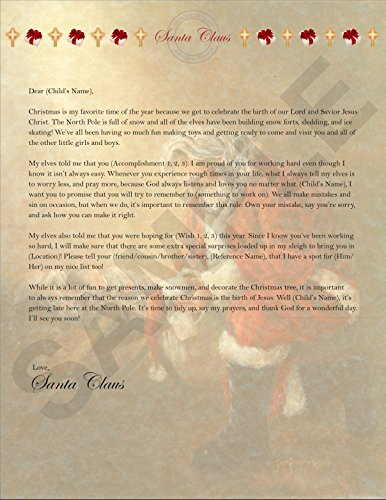 Personalized Christmas Letter From Santa (A Letter To Jesus From A Child)