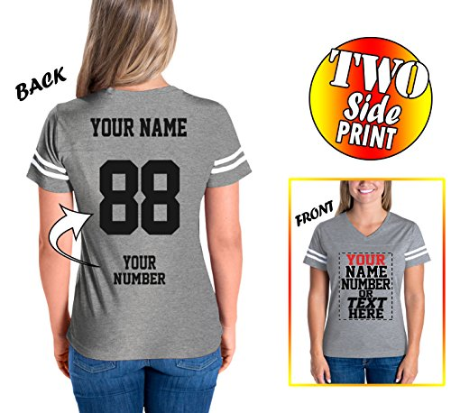 Custom Cotton Jerseys For Women - Make Your Own Jersey T Shirts - Personalized Team Uniforms For Casual Outfit - V Neck (Softball T-shirt Designs)
