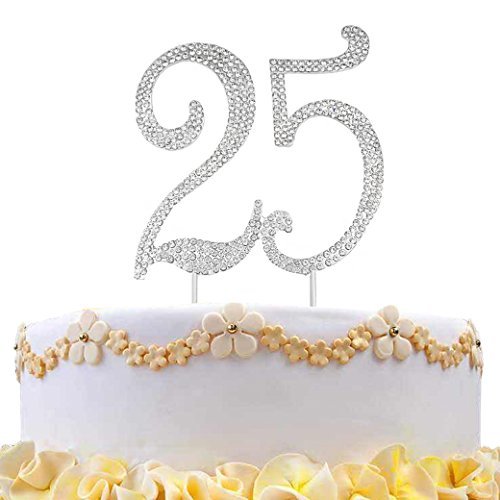 Lujuny Rhinestone 25th Letter Cake Topper Decoration for Happy Birthday Party Wedding Anniversary Photoshoot (25)