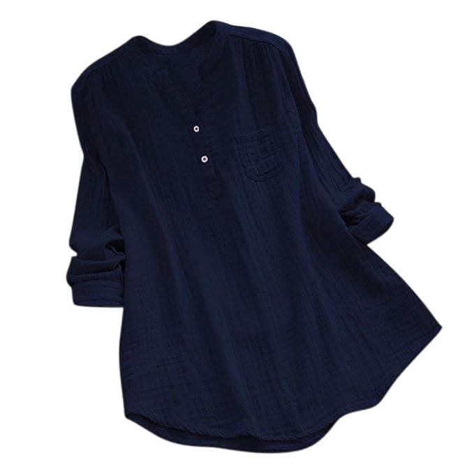 Morwind Camisetas Mujer, Camisas Mujer de Vestir Blusas de Moda túnica vaporosa de Manga Larga Camisa con Cuello de Pico Sudadera básica Jersey Sueter ...