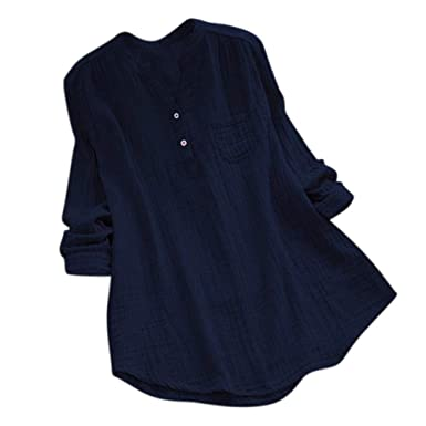 9309e21d98b Womens Tops Long Sleeve Solid V-Neck Pocket Casual Tunic T-Shirt Blouse  Shirts for Ladies Teen Girls at Amazon Women s Clothing store
