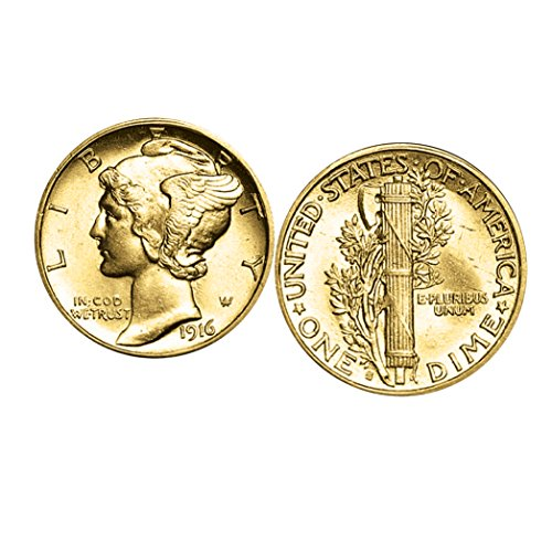 American Coin Treasures Gold-Layered Mercury Dime Cufflinks | United States Coins | Men's Cufflinks | Genuine Silver Coins