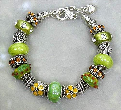 Green Yellow Flower Lampwork Murano Glass Bracelet Silver Snake Chain European Crystal Charm Bracelet One Of Kind Gift For -