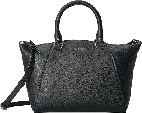 - Calvin Klein Women's Avery Pebble Leather Satchel Black/Silver One Size