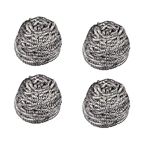 Bignay Set of 4 Stainless Steel Sponges Scrubbers, Utensil Scrubber, Metal Scouring Pads, Stainless Steel Scourer Pot Brush, Kitchen Cooking Utensil Cleaning Tools