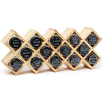 The Wooden Display Spice Rack By Modern Gourmet Foods | A Collection Of 14  Starter Spices