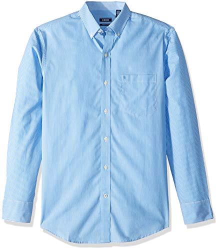IZOD Men's Premium Performance Natural Stretch Stripe Long Sleeve Shirt (Regular and Slim Fit)