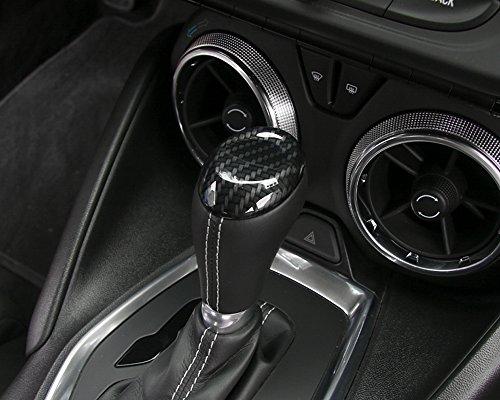 YiXunTen For Chevrolet Camaro 2017+ Carbon Fiber Grain ABS Car Gear Shift Knob Decor Decal Cover Trim