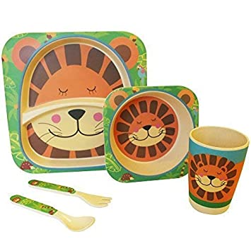 Feeding Brilliant Bamboo Eco Baby Bowl Spoon Fork Set Tiger
