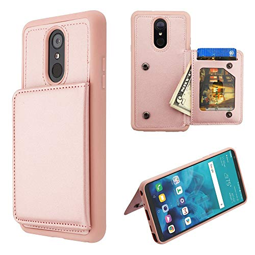 JoJoGold Case for LG Stylo 4 / Stylo 4 Plus/Q Stylus, Bicast PU Leather Back Wallet Case with Kickstand Function, Comes with Film Screen Protector - Rose Gold