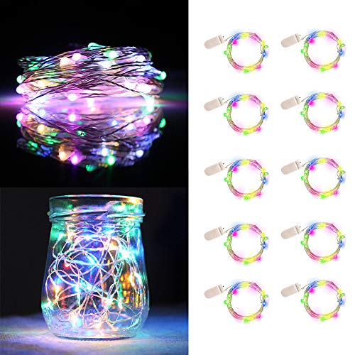 UNIQLED 10 Packs Starry String Lights Battery Operated Fairy Lights with 20 Micro LEDs Waterproof Copper Wire Firefly Night Lights for DIY Wedding Decor Party Christmas Holiday Decoration (4 Colors) -