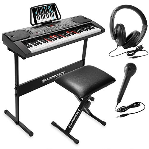 Hamzer 61-Key Electronic Keyboard Portable Digital Music Piano with Lighted Keys, H Stand, Stool, Headphones Microphone, Sticker Set (Electronic Keyboard Mini)