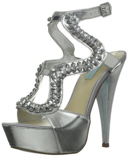 Pumps Johnson Betsey Leather - Blue by Betsey Johnson Women's Ring Pump,Silver Metallic,10 M US