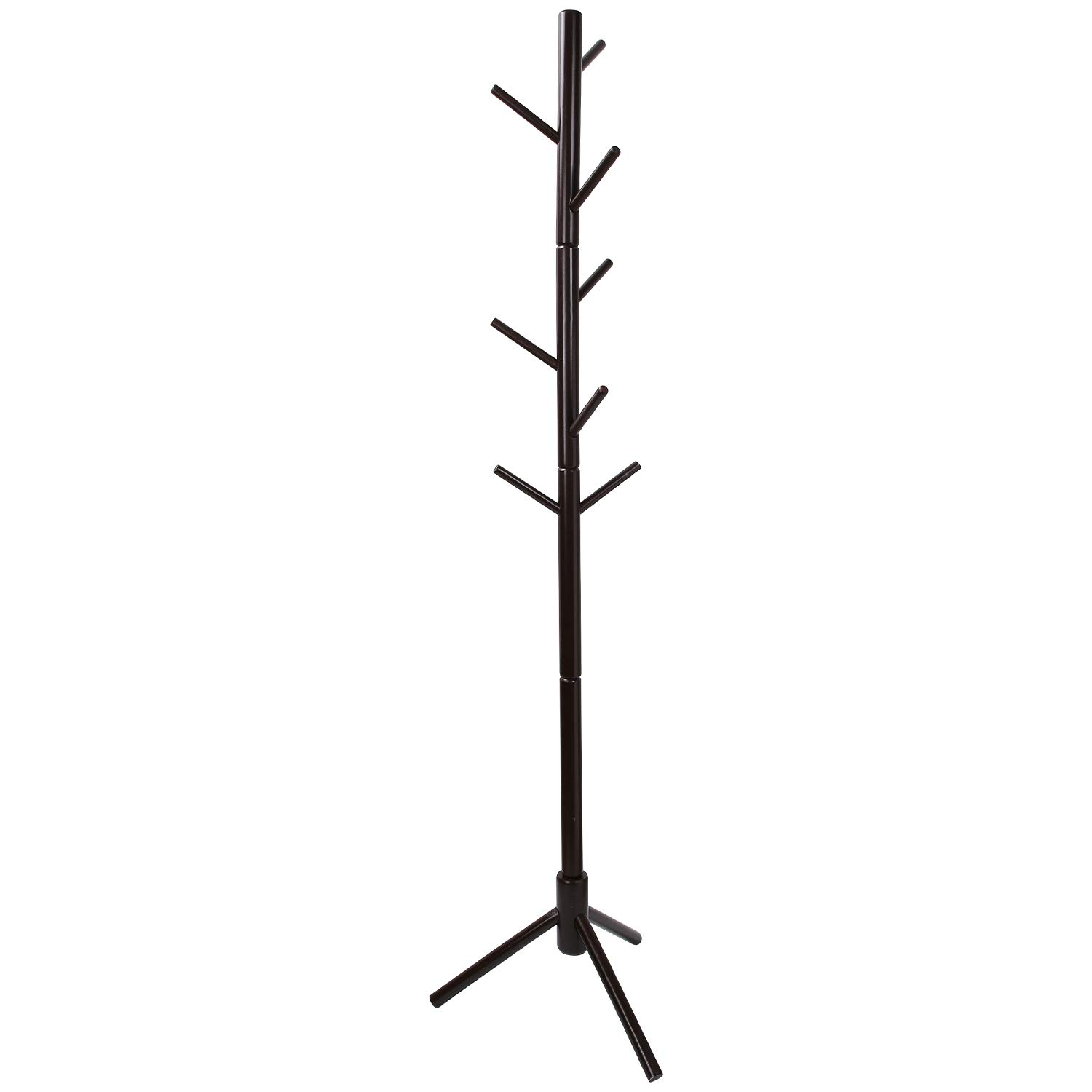 Clewiltess Wooden Tree Coat Rack Stand, 8 Hooks Super Easy Assembly, Hallway Entryway Coat Hanger Stand for Clothes, Suits, Accessories Brown